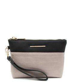 MONTY WRISTLET DF TAUPE TAUPE CROC SMOOTH